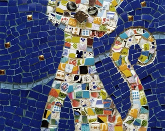 Mosaic cat, Mosaic picture, Wall art, Mixed media with plates and china, home decoration, ceramic art - Cute cat