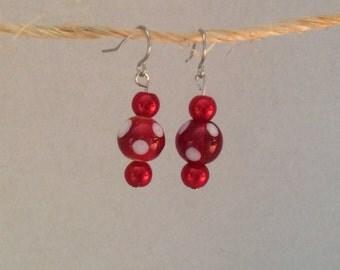 Red polka dot earrings