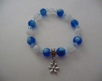 Blue and White Beaded Flower Charm Stretch Bracelet