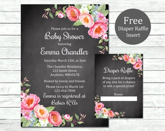 Peonies Chalkboard Baby Shower Printable Invitation & Diaper Insert, Chalkboard Floral Shower Invite Diaper Raffle Card, Download, 009-C