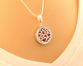Mini Love Heart Round Pendant