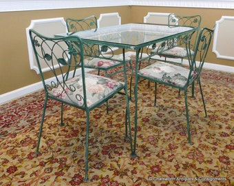 Cute Brushed Green Over White Wrought Iron Patio Kitchen Table & 4 Chairs 28X48