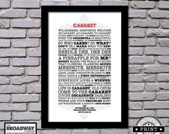 Cabaret - Broadway Collection - Quotes - Lyrics - Typography Print - A4 Framed - A3 Framed - Custom Print -