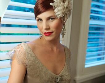 SALE - Stunning Low back Lace/Silk Latte Wedding Dress