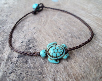 Turtle anklets,Turquoise anklets,Beadwork anklets,Women anklets,Stone anklets