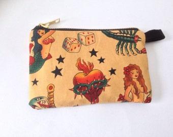 Handmade tattoo change purse with retro kitsch americana  fabric print