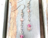 Pink crystal earrings, silver earrings, pink drop earrings pink dangle earrings, bridal earrings, bridesmaid gift, wedding jewelry, birthday