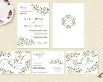 Berry Pretty Wedding Invitation Suite/RSVP/Thank You cards