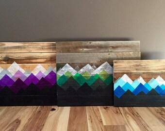 Reclaimed Wood Wall Art - Mountain Landscape (large)
