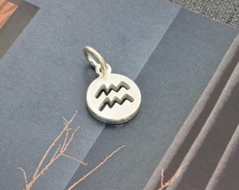 sterling silver zodiac Aquarius coin disc round charm pendant  YZ01
