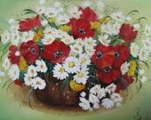 Oil on canvas Summer flowers painting Daisies Poppies