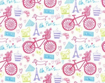 Half Yard Timeless Treasures Bicycles French Eiffel Tower Hearts Flowers Ah Paris Quilt Craft