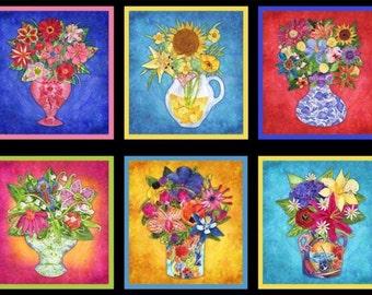 Flower Frames Fabric Panel Elizabeth/s Studio