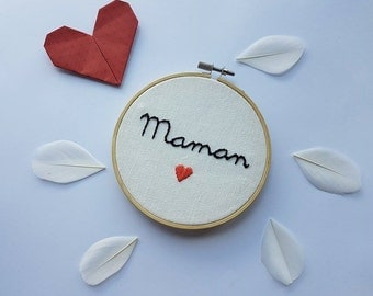 Embroidery MOM little heart on embroidery hoop