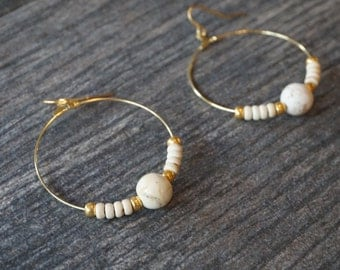 White and Gold Colored Hoop Earrings