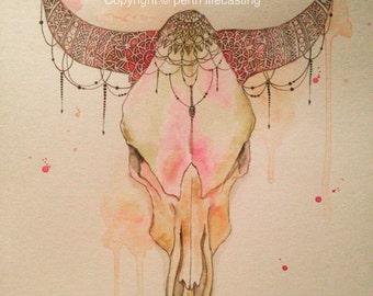 Original Steer Skull Watercolour