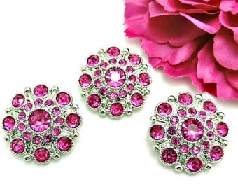 HOT PINK Rhinestone Buttons Large Vintage Style Silver Acrylic Rhinestone Buttons Wedding Garment Coat Fashion Buttons 28mm 5051 24R