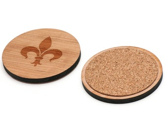 Fleur De Lis Wooden Coasters Set of 4, Gifts For Him, Wedding Gifts, Groomsman Gifts, and Personalized