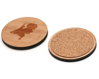 Netherlands Wooden Coasters Set of 4, Gifts For Him, Wedding Gifts, Groomsman Gifts, and Personalized