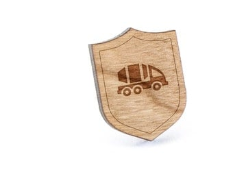 Cement Truck Lapel Pin, Wooden Pin, Wooden Lapel, Gift For Him or Her, Wedding Gifts, Groomsman Gifts, and Personalized