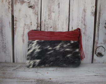 Spotted Hair On Cowhide and Cranberry Red Leather Clutch Zippered Pouch Make Up Bag Possibles Bag Zazu Bagz Ready To Ship