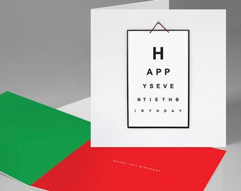 Happy 70th Birthday 'Eye Test Board' Card