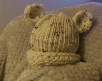 knitted babies hat with ears