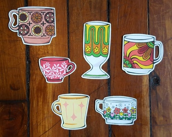 Kitsch Vintage Mugs Vinyl Stickers - Set 2