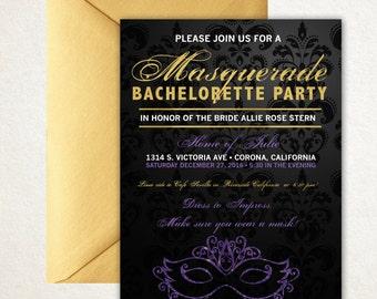 Masquerade invitation, bachelorette, bachelorette party, masquerade, bridal invite