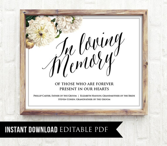 50 off editable wedding sign in loving memory sign. Black Bedroom Furniture Sets. Home Design Ideas