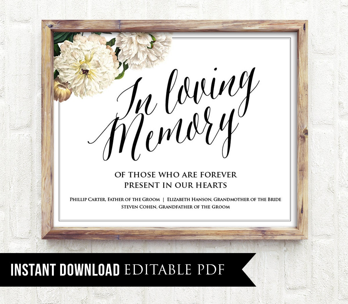 50% off, editable wedding sign, in loving memory sign template, Powerpoint templates