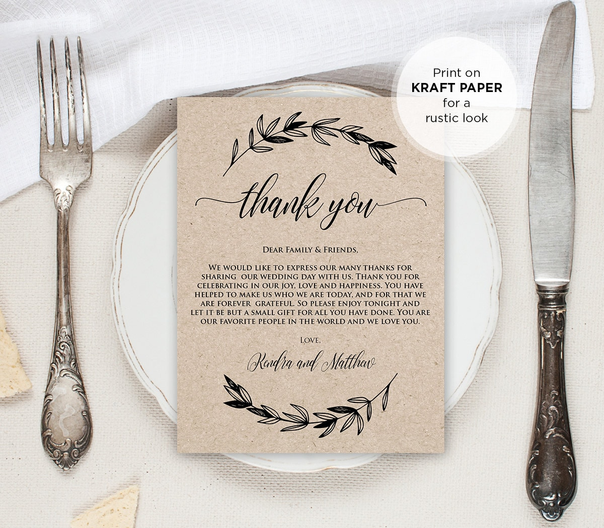 Printable Wedding Thank You Letter Thank You by MintyPaperieShop