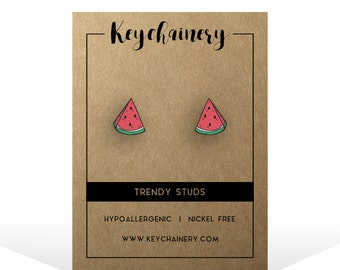 Watermelon Stud Earrings - Fruit studs - Nickel-free studs