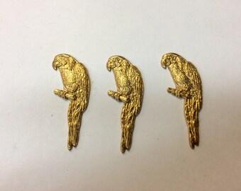 Brass Stamping - Parrot - Set of 3