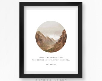 Untold Story, Maya Angelou, Inspirational Quote, Quote Print, Writing Quote, Typography Print, Literary Art, Mountains, Minimalist Art