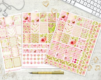Rose Valley Printable Planner Stickers Daily Planner Stickers Gold Glitter Watercolor Flower Rose Blush Pink Green 8.5x11 Instant Download