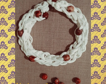 webbing and braided necklace wood beads