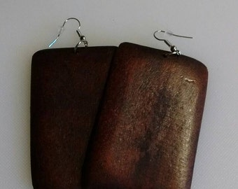 Boho Square Wooden Earrings in Dark Brown