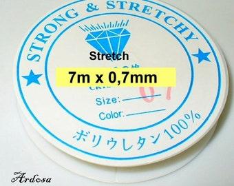 7 meters of elastic thread 0, 7 mm transparent, Crystal (1031.7)