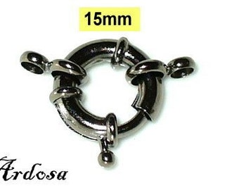 1 spring ring clasp gunmetal, black 15 mm with eyelets (K7. 15)