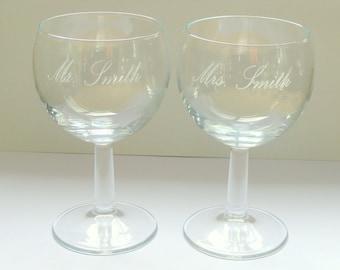 Set of 2 personalised wine glasses, Engraved wine glass, Personalised wine glass, Gift for couples, Birthday gift