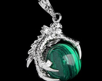 Unusual malachite dragon talon necklace