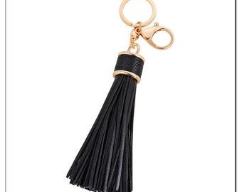 Long PU leather tassels keychain / Black tassel keychain / Handbag tassel pendant