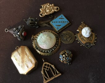 Vintage Antique Victorian Charm Collection Bracelet Charms