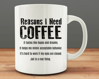 Reasons I Need Coffee Mug, funny mug (M0686)