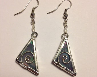 Pearly grey stained glass earrings