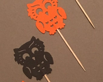 12 Owl Cupcake Toppers Halloween Cupcake Toppers Baby Cupcake Toppers Baby Shower Cupcake Toppers Birthday Cupcake Toppers Black Orange