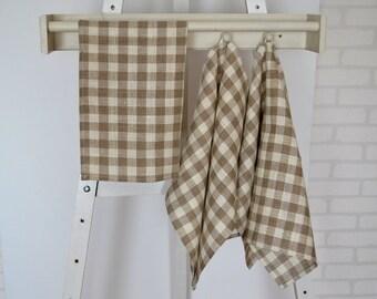 Set of 3 linen tea towels, linen towels, linen kitchen towels, linen hand towels, linen dish towels,brown off-white