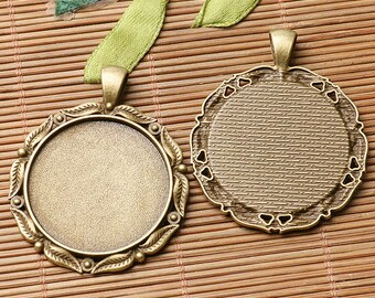 2pcs antiqued bronze color leaf rim  round cabochon setting in 30mm EF3121