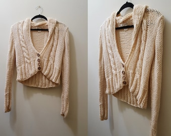 Vintage 1970's Sweater // 70s Cropped Wool Sweater Small Medium Fall Winter
